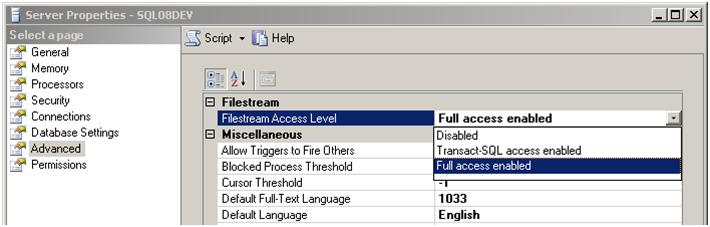 Enabling FILESTREAM for SQL Server Instance
