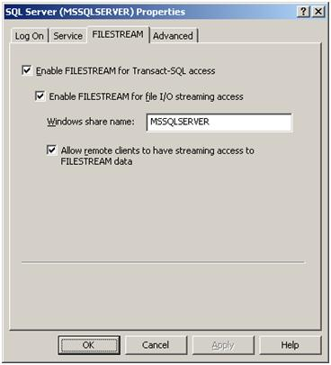 Enabling FILESTREAM for Windows Service